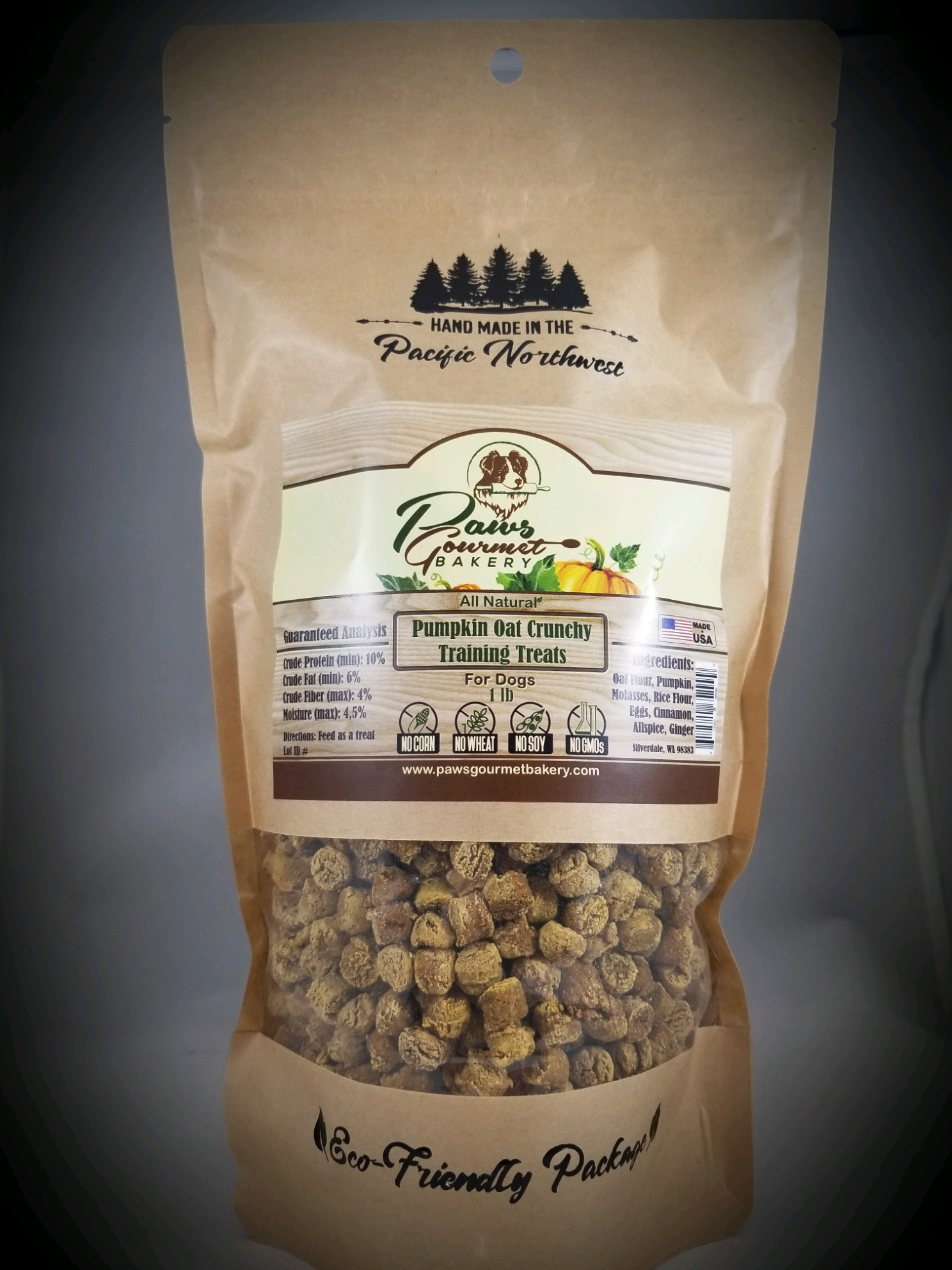 Pumpkin Oat Training Treats 1 lb pouch